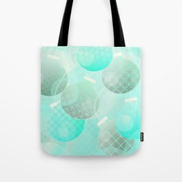 Silver and Mint Blue Christmas Ornaments Tote Bag
