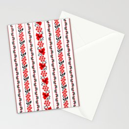 Ethno Ukrainian Pattern - Grape Guelder rose Oak - Symbol Vertical Stationery Cards