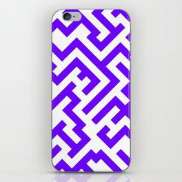 White and Indigo Violet Diagonal Labyrinth iPhone Skin