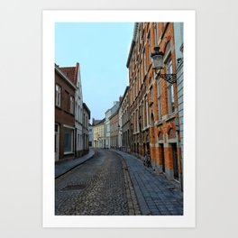 Belgium, Cobblestone Street Art Print
