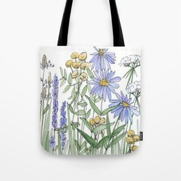 Asters and Wild Flowers Botanical Nature Floral Tote Bag