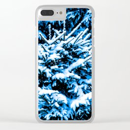 Snow covered Christmas tree Clear iPhone Case