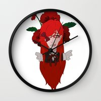kuroshitsuji Wall Clocks featuring Grell Sutcliff // Pansy by Nadidrawings
