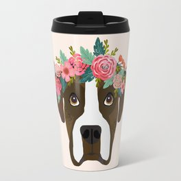Boxer dog breed floral crown boxers dog lover pure breed gifts Travel Mug