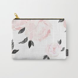 Vintage Blush Floral - BW Carry-All Pouch