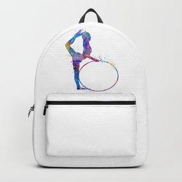 Rhythmic Gymnastics Art Gymnastic Hoop Girl Art Colorful Blue Purple Watercolor Art Flexible Girls Backpack