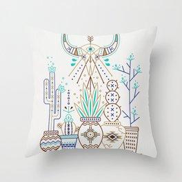 Santa Fe Garden – Turquoise & Brown Throw Pillow