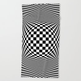 Optical Illusion Checkers Chequeres  Beach Towel