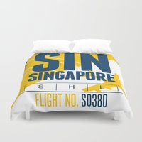 singapore Duvet Covers featuring Singapore Tag by Studio Tesouro