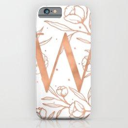 Letter W Rose Gold Monogram / Initial Botanical Illustration iPhone Case