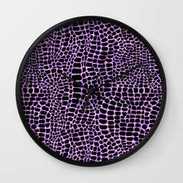Neon crocodile/alligator skin Wall Clock