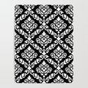 Prima Damask Pattern White on Black by nataliepaskell