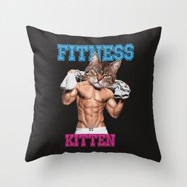 Cute Fitness Kitten Throw Pillow