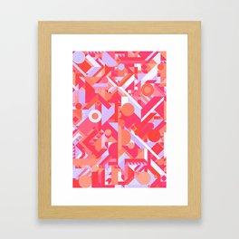 GEOMETRY SHAPES PATTERN PRINT (WARM RED LAVENDER COLOR SCHEME) Framed Art Print