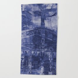 Totem Cabin Abstract - Stonewashed Denim Beach Towel