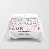 helen Duvet Covers featuring Books Can Be Dangerous - Helen Exley Book Quote Typography  by Artsunami