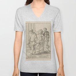 Vintage Print - Giuseppe Mitelli - Lazy Man Transported in a Sedan Chair (1683) Unisex V-Neck