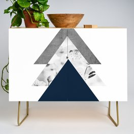 Blue grey monochrome blossom arrows Credenza
