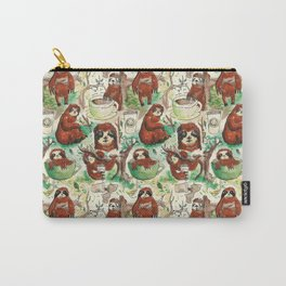 sloth in coffee pattern Carry-All Pouch