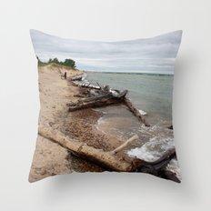 White Fish Point, Lake Superior Throw Pillow