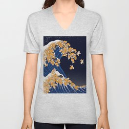 Shiba Inu The Great Wave in Night Unisex V-Neck