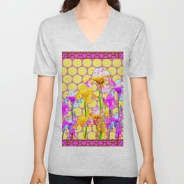 FUCHSIA-YELLOW IRIS GARDEN DESIGNS Unisex V-Neck