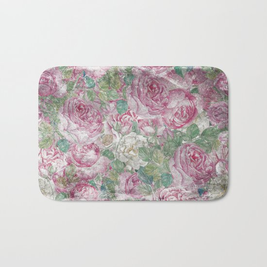 Vintage & Shabby-chic - floral roses flowers rose flower Bath Mat