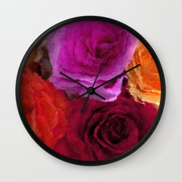 Wonderful painted Roses 4 Wall Clock