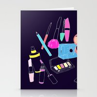 makeup Stationery Cards featuring Retro Makeup by minniemorrisart
