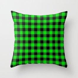 Lime  Bison Plaid Throw Pillow