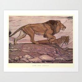 Vintage Lion Painting (1909) Art Print