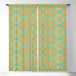 Warm Yellow and Orange on Blue ( 11 / 12 ) Blackout Curtain