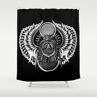 egyptian Shower Curtains featuring Egyptian Scarab by BIOWORKZ