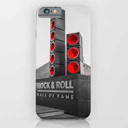 Cleveland Ohio Rock And Roll Hall Of Fame Black White Red iPhone Case