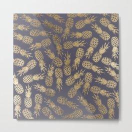 Elegant mauve purple gold tropical pineapple fruit Metal Print