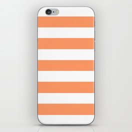 Atomic tangerine - solid color - white stripes pattern iPhone Skin