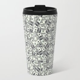 Giant money background 100 dollar bills / 3D render of thousands of 100 dollar bills Travel Mug