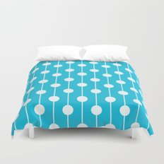 Bright Blue Lined Polka Dot Duvet Cover