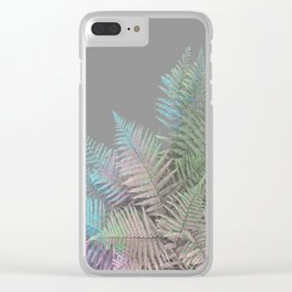 Rainbow Fern on Grey #decor #buyart #foliage Clear iPhone Case
