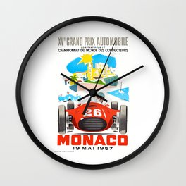 1957 MONACO Grand Prix Race Poster Wall Clock