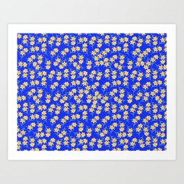 Yellow Lilies on Cornflower Blue Background Art Print