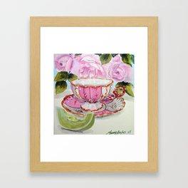 Teacup Honeydew and Roses Framed Art Print