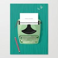 typewriter Canvas Prints featuring Typewriter by Luke Bott