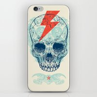dude iPhone & iPod Skins featuring Skull Bolt by Rachel Caldwell