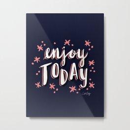 Enjoy Today – Navy & Pink Metal Print