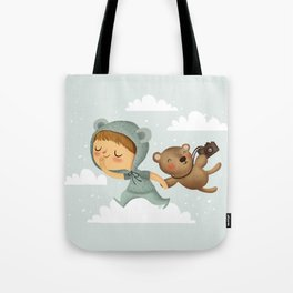 Little boy in blue Tote Bag