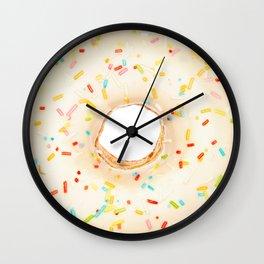 Overfill white chocolate doughnut Wall Clock