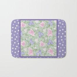 Flower Play Antique over Purple Tiny Flowers Bath Mat