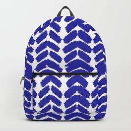 Hand-Drawn Herringbone (Navy Blue & White Pattern) Backpack