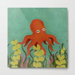 Curious Little Red Octopus Metal Print